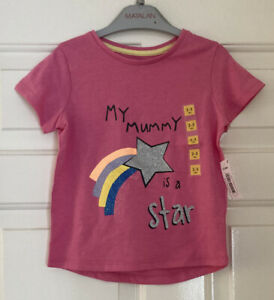 Girls Pink Tshirt Age 2-3 Years From Matalan My Mummy Is A Star Short Sleeve Top