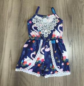 NWT Boutique Swan Girls Sleeveless Romper Jumpsuit Sunsuit 5-6