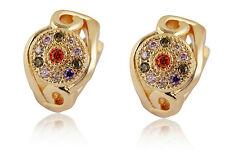 18 k Gold Plated Jewellery Small Girls Women Hoops Colourful Earrings E711