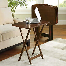 TV Tray Table 5 Piece Set Wood Stand Mainstays End Folding Home Furniture Walnut