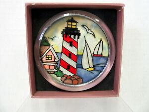 New Joan Baker Summer Shores Paperweight / Coaster Lighthouse Sailboats
