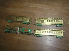 "Early Mantua ""Old Timer"" 4-4-0 Brass & Diecast Loco,Tender & 3 Passenger Cars"