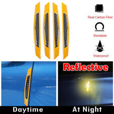 4x Super Reflective Carbon Fiber Side Door Edge Protection Guard Stickers Yellow