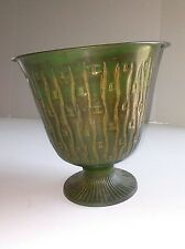 "Green Decorative 8 3/4"" T Metal Vase Urn Pedestal Bamboo Designed 8 3/4""D"