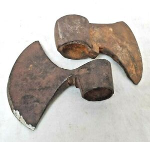 2 Pc Rare Vintage Old Antique Iron Handcrafted Battle Axe Head, Collectible