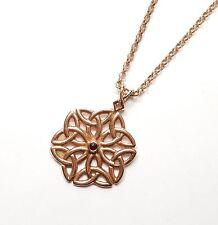 9 Carat Rose Gold Garnet Set Scottish Celtic Design Pendant & Belcher Chain 10g