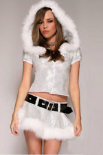Ladies Christmas Snowman Ice Costume White Silver Hooded Top & Skirt Size 10-12