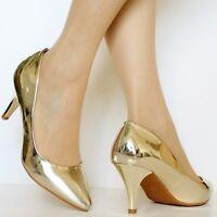 Ladies Women Patent Mid Heel Party Bridal Casual Court Shoes Pumps Size-5972