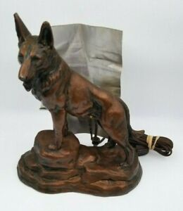 Antique German Shepherd Dog TV Lamp Metal Night Light. Works! (see pictures)