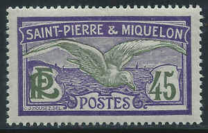 ST. PIERRE & MIQUELON #96(1) 1909 45 centimes violet & ol grn FULMAR PETREL MH