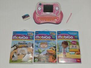 Vtech pink MobiGo2 w/ stylus and 4 Games- The Penguins, Doc McStuffins & More