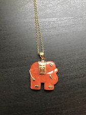 "Red Jade Elephant Pendant & 20"" 14K Yellow Gold Over Sterling Silver Chain"