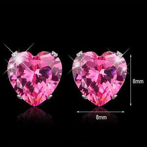 8mm Various Colors Heart CZ Zircon Crystal 316L Stainless Steel Stud Earrings