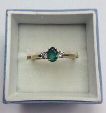 14K REAL YELLOW GOLD Women's Natural Emerald & .20ct Diamond RING SZ 7 / 2.5g