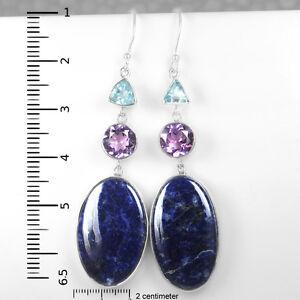 12.58 Grams 925 Sterling Silver Amethyst Sodolite Blue Topaz Earrings Jewelry $