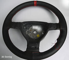 FITS PEUGEOT 205 83-98 BLACK PERFORATED LEATHER+ RED STRAP STEERING WHEEL COVER