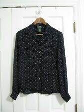 Lauren Ralph Lauren 4 navy polka dot blouse shirt top SILK long sleeve button up