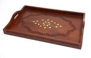 Beautiful wooden serving tray with brass inlaid detail & strong handles.