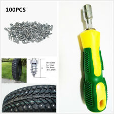 Snow Spike Wheel 100Pcs Tire Stud Screws&Sleeve Tool Kit For Car/Truck/ATV Chain