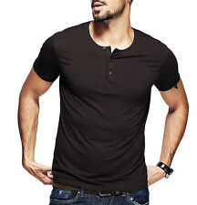 Fitted Mens Basic Tee Henley Shirt Short Sleeve T-shirt  Smooth  Coffee XL
