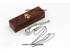 Chrome Bosun's Whistle Brass & Copper Boatswains Pipe with Wooden Storage Box