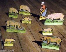 Anciennes figurines decoupis cochons, porcs, fermiére  1920 antique set play