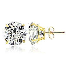 14K Yellow Gold 2.50 CTTW Cubic Zirconia Round Stud Earring, 7mm
