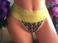 Victoria's Secret VERY SEXY Med Silky Leopard Print Lace Waist Thong Panties B
