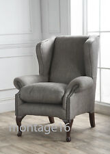 Classic Harley Grey Fabric Wing Chair Armchair High Back Chair RRP £1098