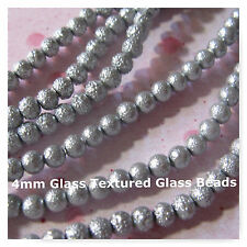 104 Glass Beads 4mm Textured Silver Round  Beads Jewelry Spacer Beads