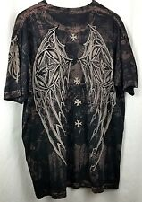 Affliction mens tee shirt sz L black browm rebel saints cross wings velvet flaw