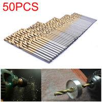 50Pcs 1 1.5 2 2.5 3mm Titanium Coated HSS High Speed Steel Drill Bit Kit Tool US