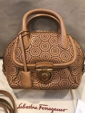 New Salvatore Ferragamo Fiamma Lace Women's Bag Brown/tan Leather $1990