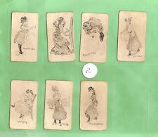 #D405.  #2. LOT OF SEVEN LADIES' FASHION CIGARETTE CARDS,  1900 to 1905