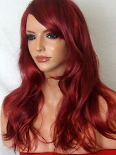 Red Burgundy Curly Long wig FULL WOMEN LADIES FASHION HAIR Wigs Heat Resist K14