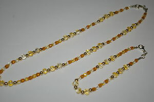 Multi Color CZECH GLASS and 14kt GOLD FILLED Beads Necklace and Bracelet Set