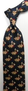 Navy Blue Red Mother Goose  Silk Tie