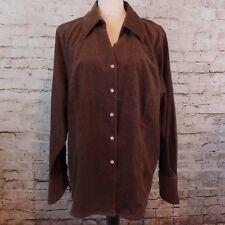 Susan Graver Womens Button Front Top Jacket, Size 1X Brown Sparkle Corduroy