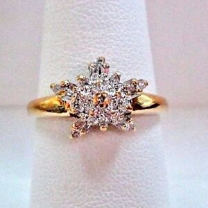 LQQK Stunning DIAMOND CLUSTER Snowflake Star 10K Real yellow Gold RING sz 7.25