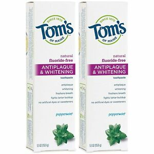 2-Pack Toms of Maine Antiplaque Whitening No-Fluoride Toothpaste Peppermint 5oz
