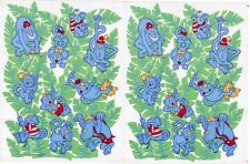 2 Sheets Vintage Hallmark Blue Monkey & Banana Tree Stickers! 1989