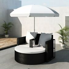 Garden Poly Rattan Sun Lounge Bench Parasol Set Sofa Bed Outdoor Wicker Black