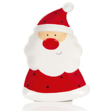 Christmas Tableware Red Jingle Ceramic Santa Shaped Plate NEW