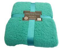 Teal Teddy Fleece Throw /Blanket  Luxury Soft Double Warm Large 150x200cm