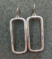 925 Sterling Silver Coach Rectangle Statement Dangle Earrings
