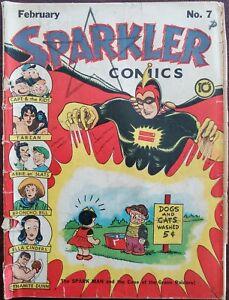 Sparkler Comics #7 F 1.0 (United Features Syn. 1942) - Spark Man &Hogarth Tarzan