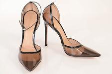 Gianvito Rossi black 8.5 38.5 patent transparent ankle strap pump shoe NEW $945