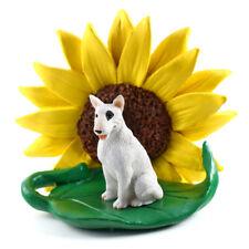Bull Terrier Sunflower Figurine White