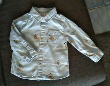 Disney Zara Baby Boy chambray Shirt Mickey Mouse Pluto size 0 BNWOT
