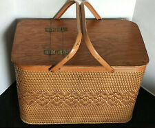 Picnic Basket Set; Trays, Cups, Silverware, & More 1960's Vintage Excellent